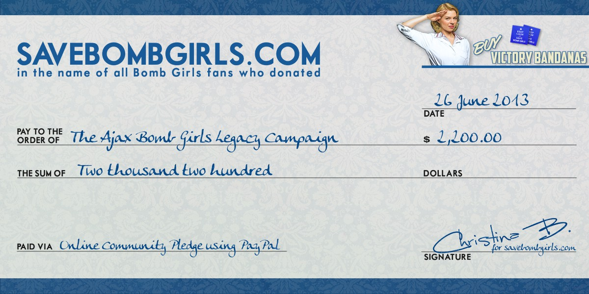 News save bomb girls a website about the canadian tv show bomb save bomb girls donates over 2000 to the ajax bomb girls legacy campaign ccuart Images
